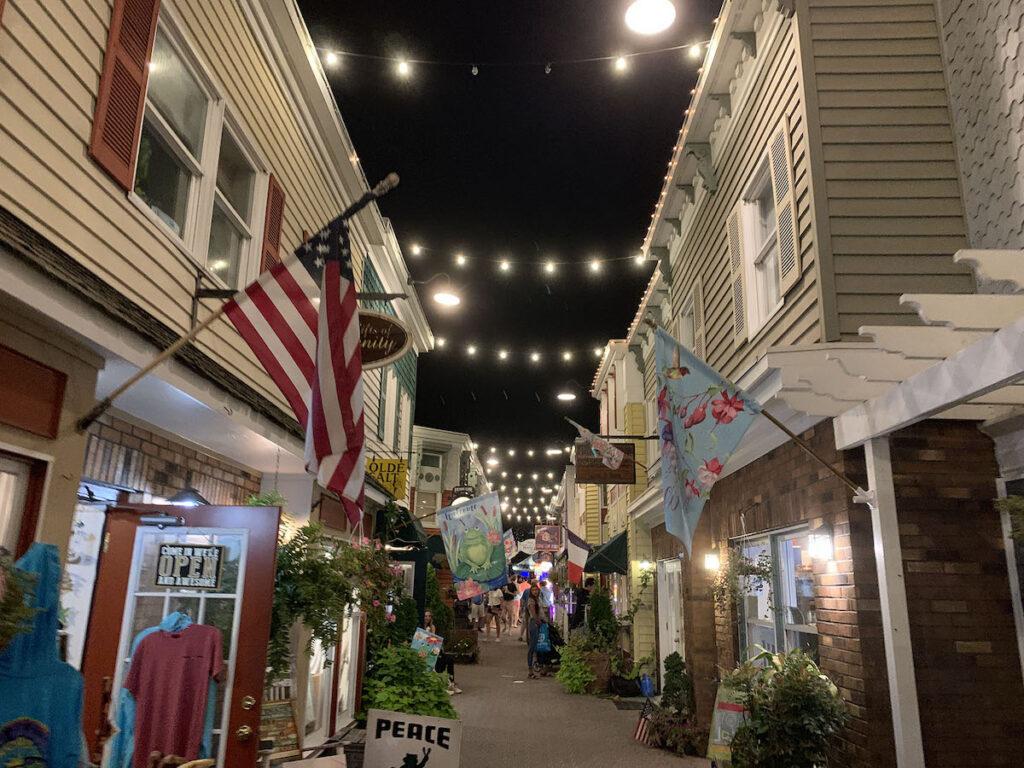 Rehoboth, Delaware boardwalk at night