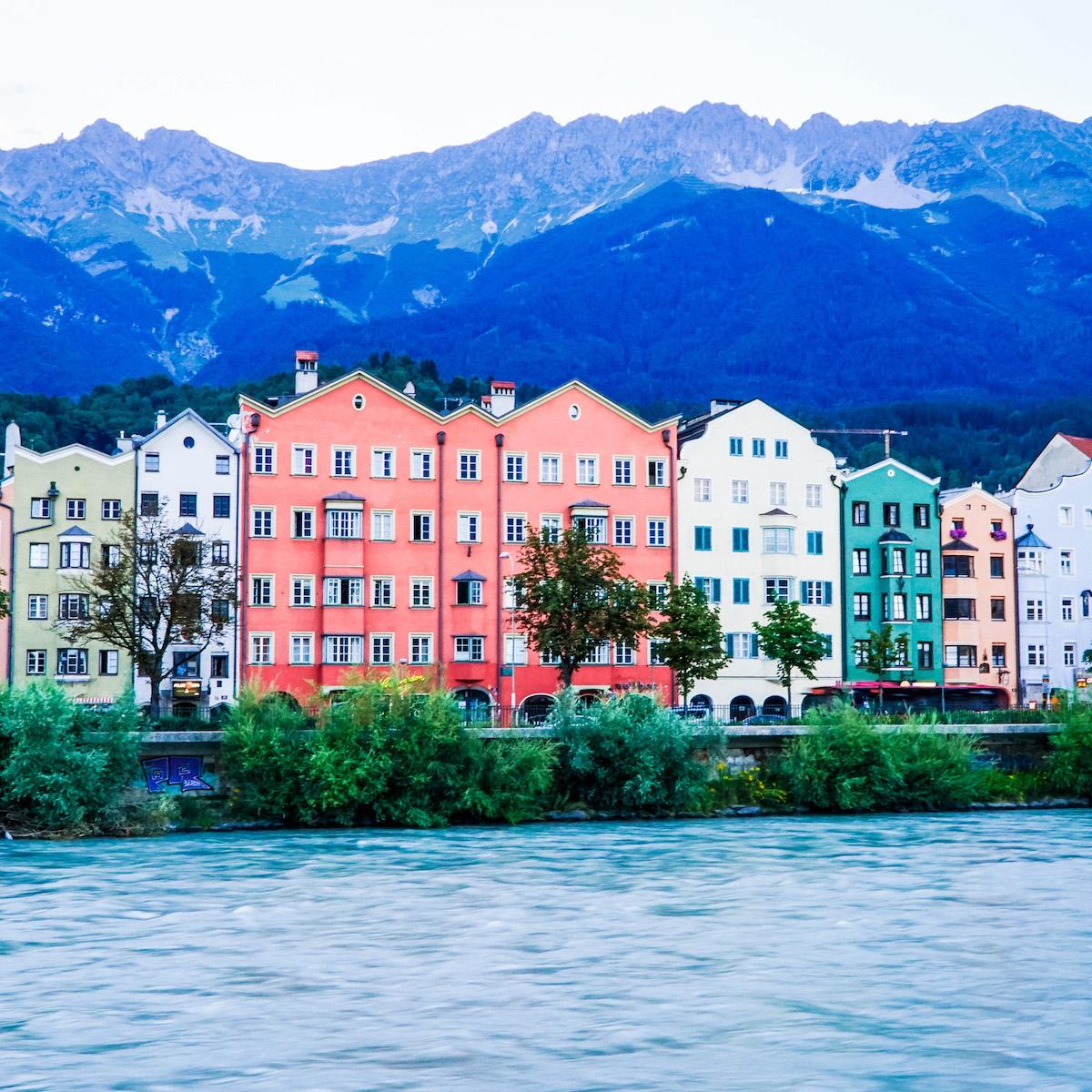 Buildings along the Inn River in Innsbruck
