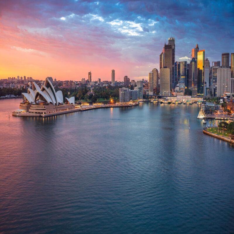 Cityscape image of Sydney, Australia during sunrise.