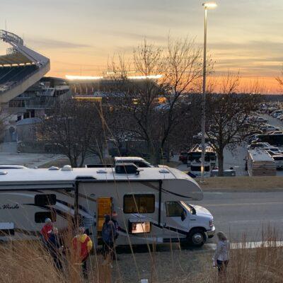 Rv tailgating outside Arrowhead Stadium, home of the Kansas City Chiefs