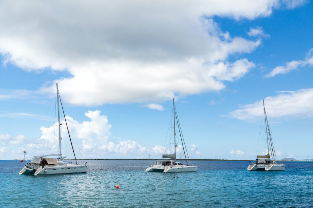 Sailboats docked in Belize