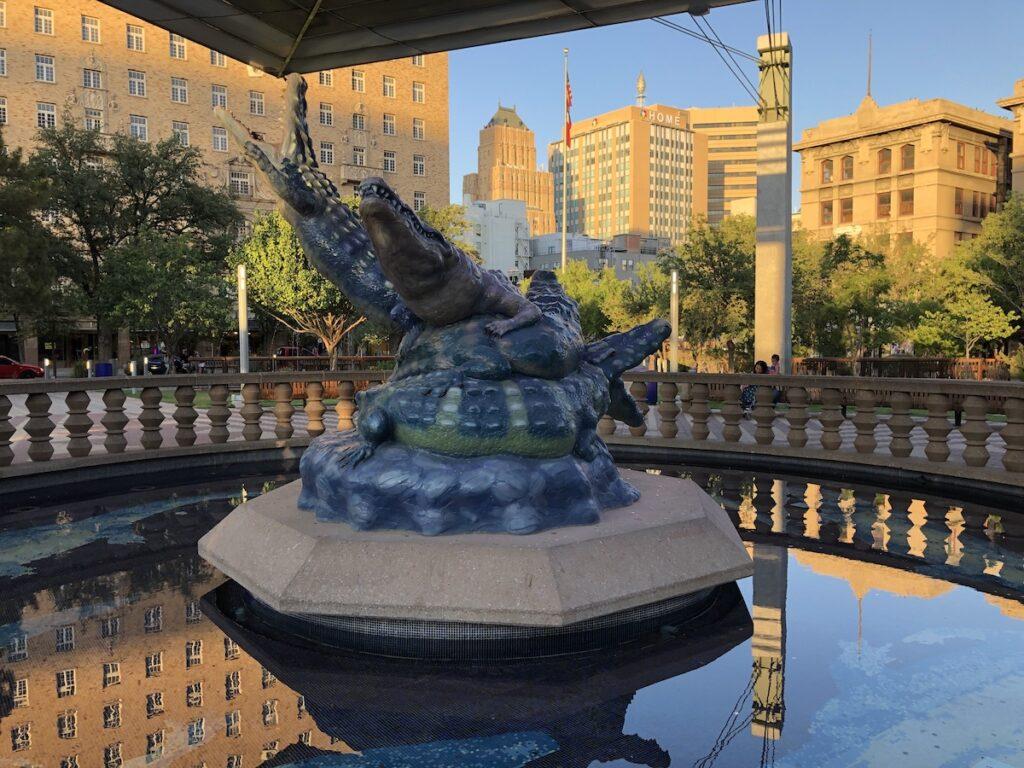 Alligator fountain in San Jacinto Plaza