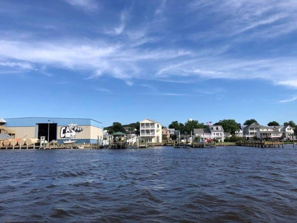 Swansboro Waterfront from Boat in Swansboro, North Carolina.