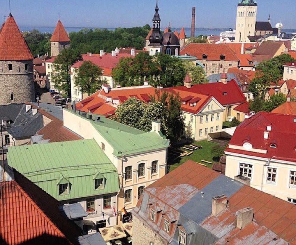 Orange, red, and green rooftops of Tallinn, Estonia