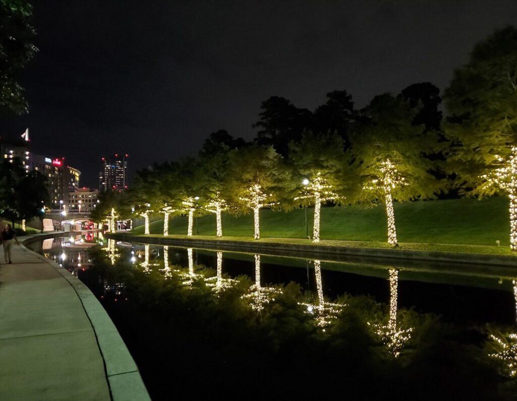 The Waterway at night.