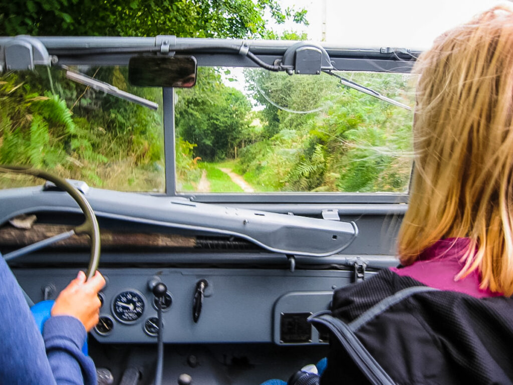Utah Beach Jeep Tour with guide driving.