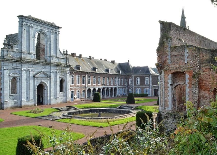 Ruins of Aulne Abbey in Landelies, Belgium