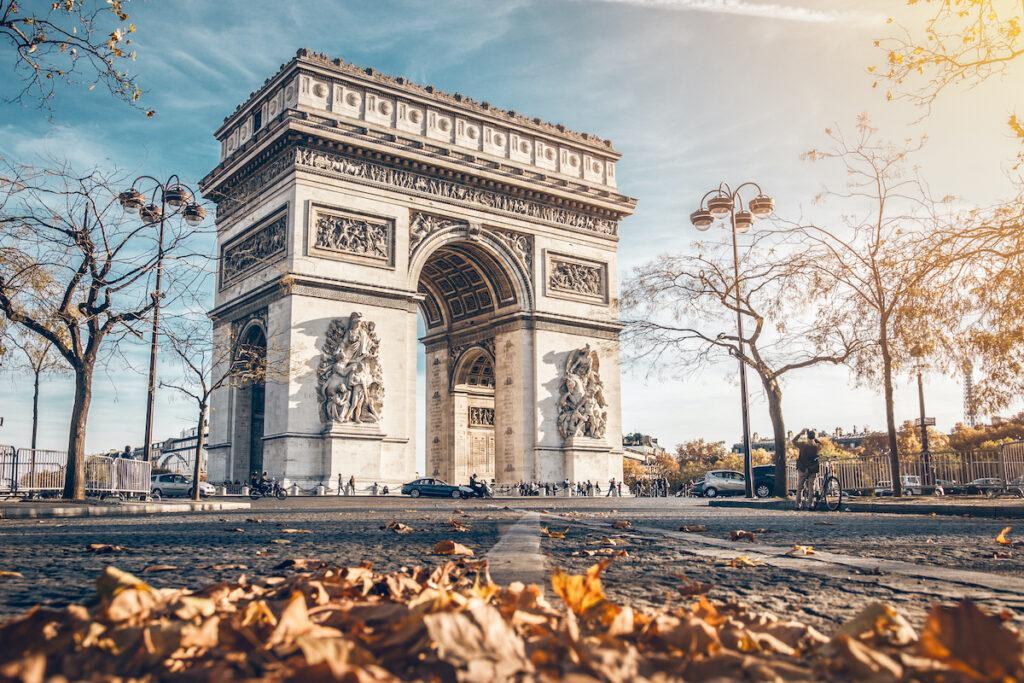 Arc De Triomphe during fall, Paris, France.