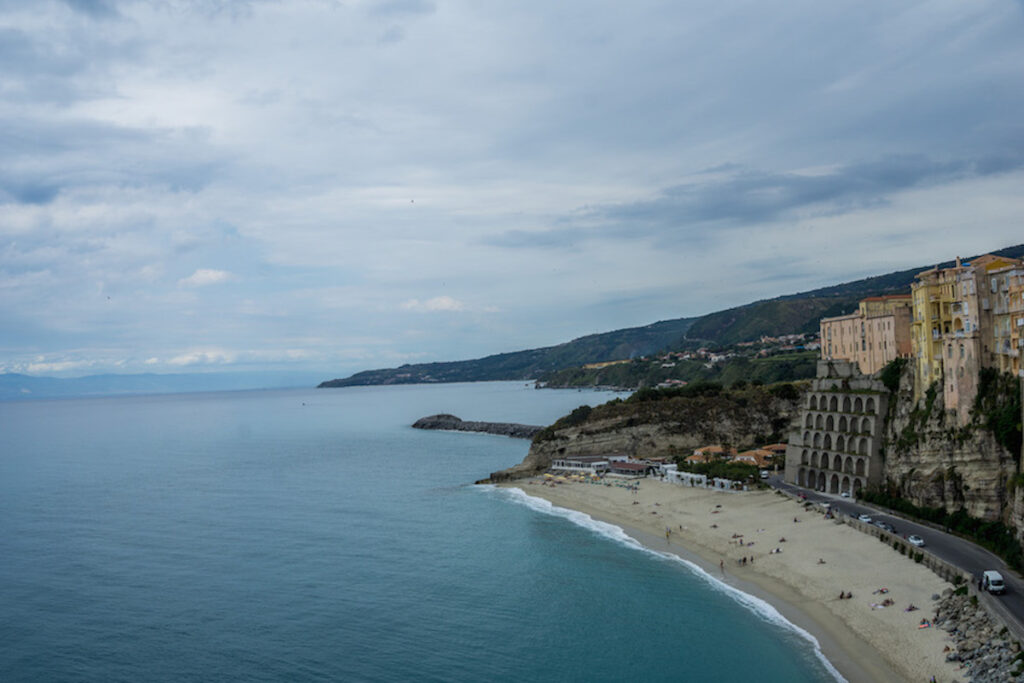 The beach, cliffs and the coastline at Tropea Italy.