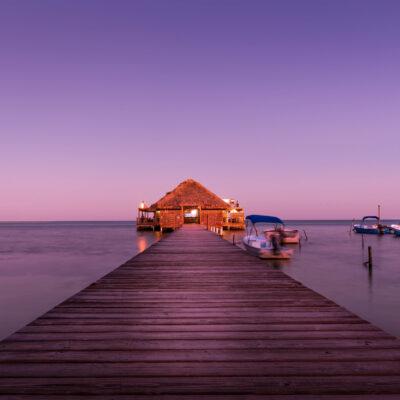 Overwater bungalow in Belize.