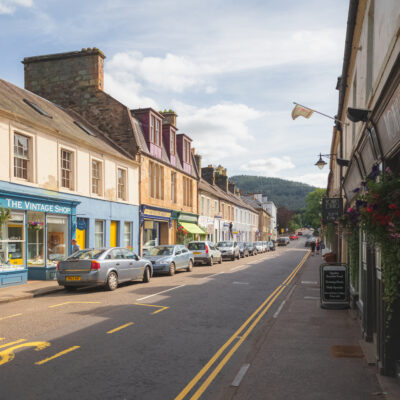Street through Dunkeld, Scotland, in the highlands.
