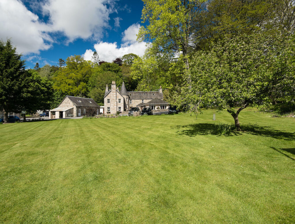 Wide view, East Haugh House in Pitlochry, Scotland.