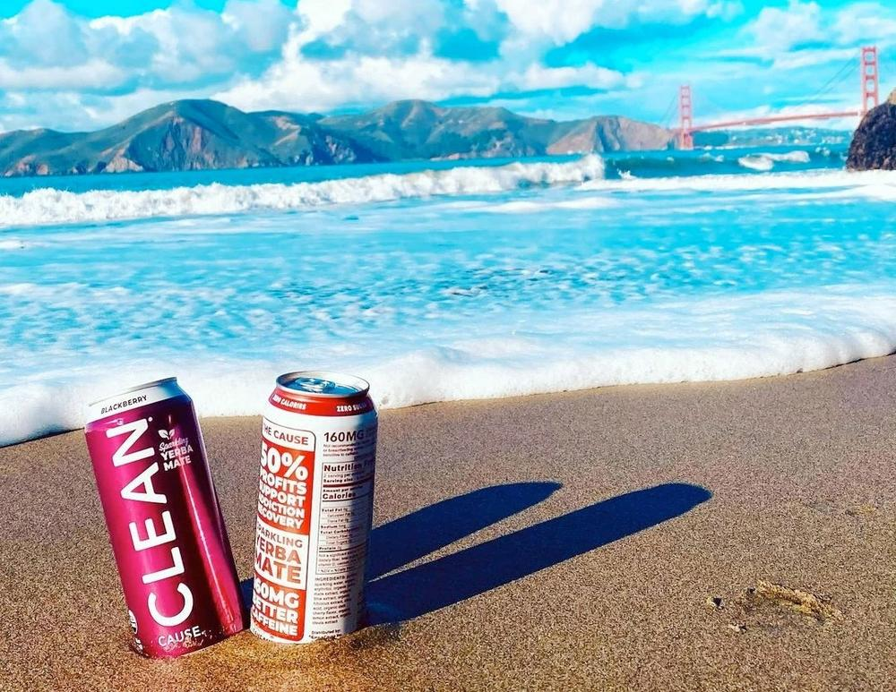 CLEAN Cause energy drinks on the beach