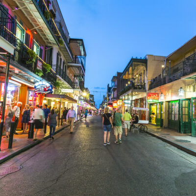The French Quarter, home to many historic restaurants in New Orleans.