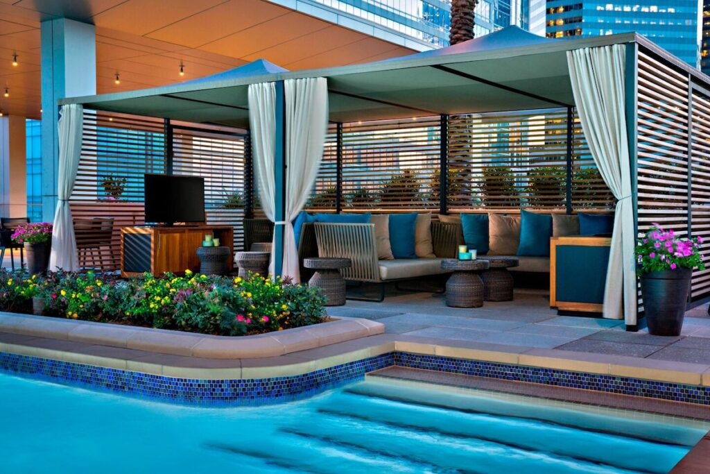 View of the gazebos at Marriott Marquis Houston Altitude Rooftop & Pool.