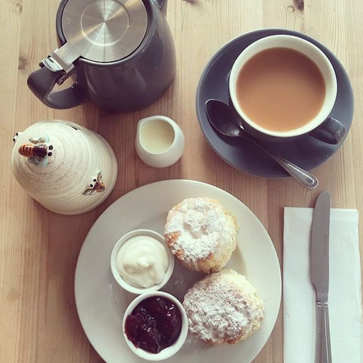 Tea and homemade sweet scones.