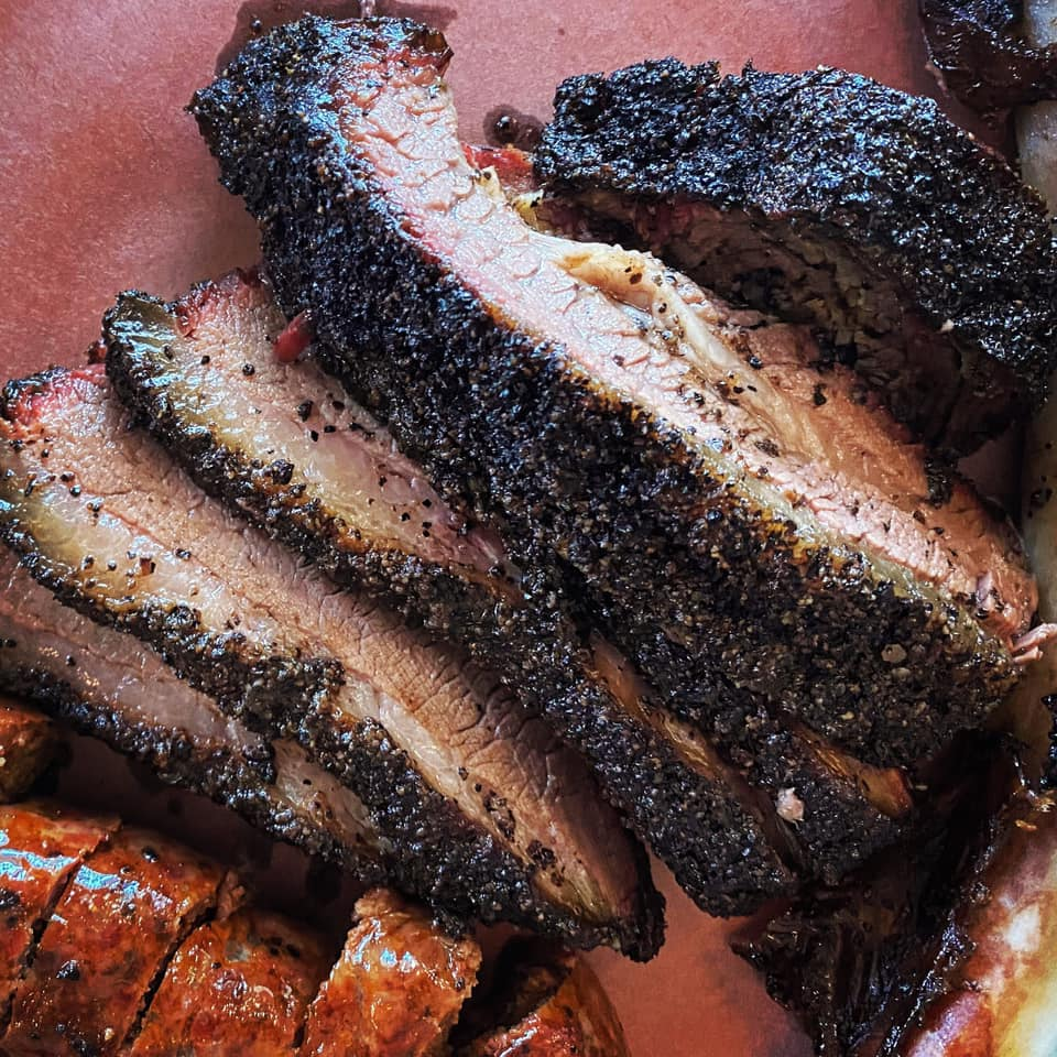 close up of smoked sausage and brisket from la Barbecue, Austin