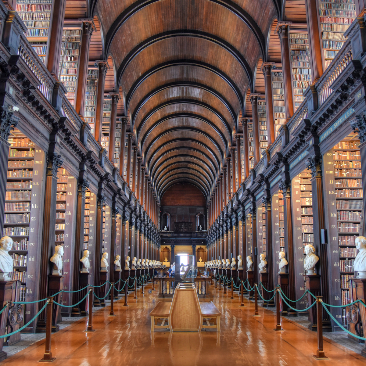 The Long Room in Trinity College's Old Library, Dublin, Ireland.