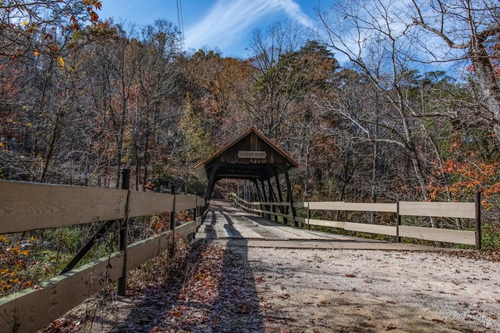 Old Union Crossing Covered Bridge in Mentone, Alabama.