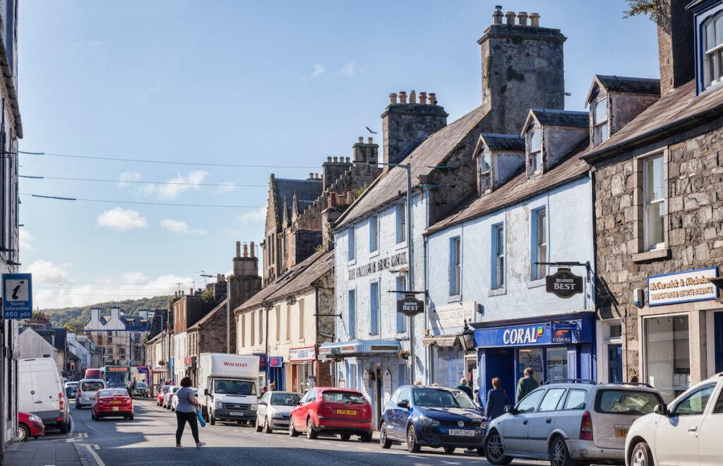 High Street in Newton Stewart, Scotland.