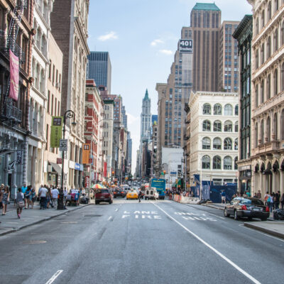 A view down Broadway in New York City's Soho neighborhood.