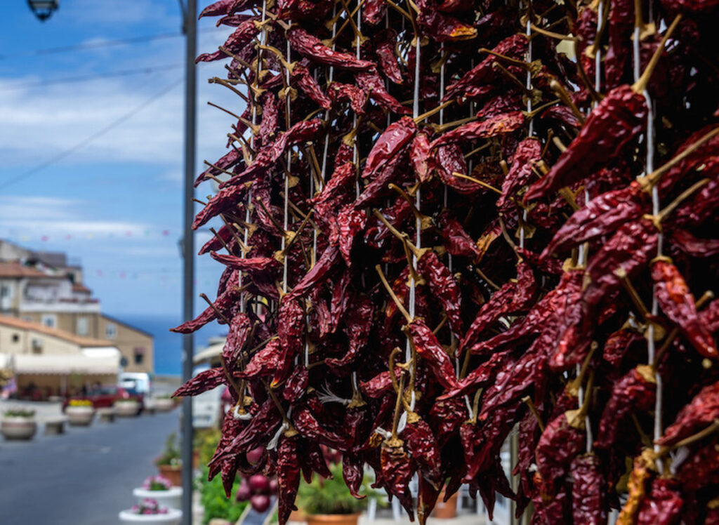 Peperoncino Calabrese, hot chile peppers for sale in Tropea.