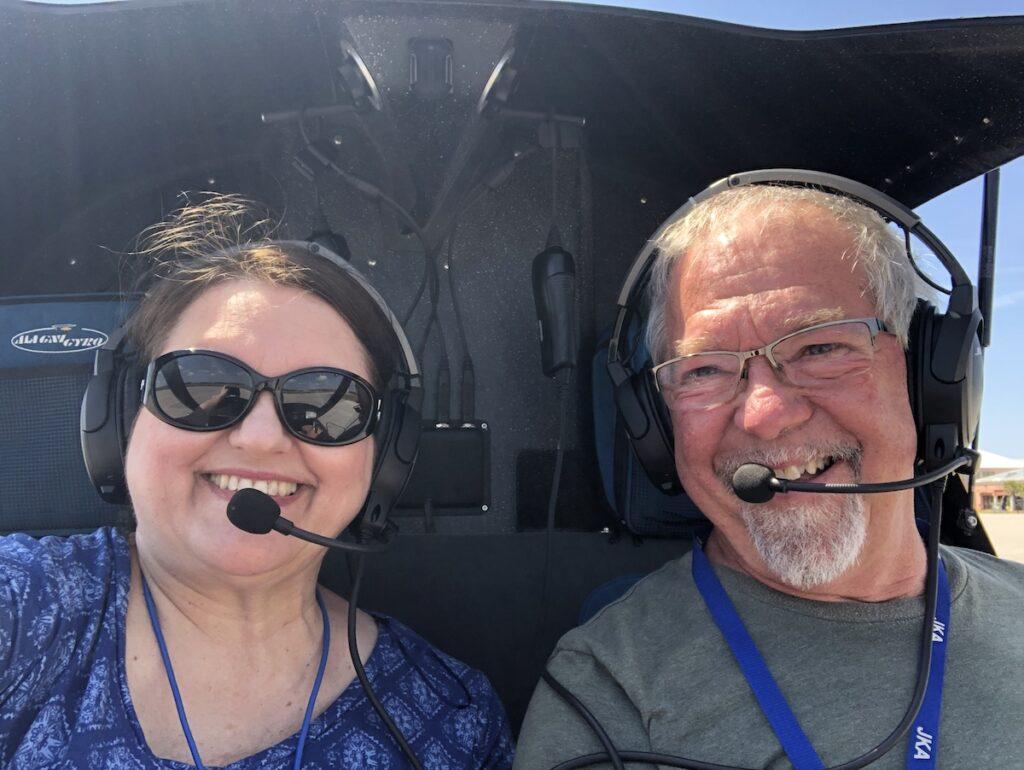 Robin O'Neal Smith and pilot Mark in a gyroplane.