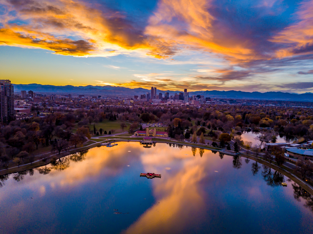 Colorful Drone Sunset Above City Park in Denver, Colorado