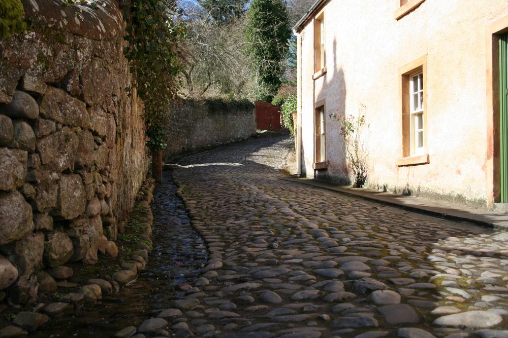 Cobbled street, Cromarty, Scotland.