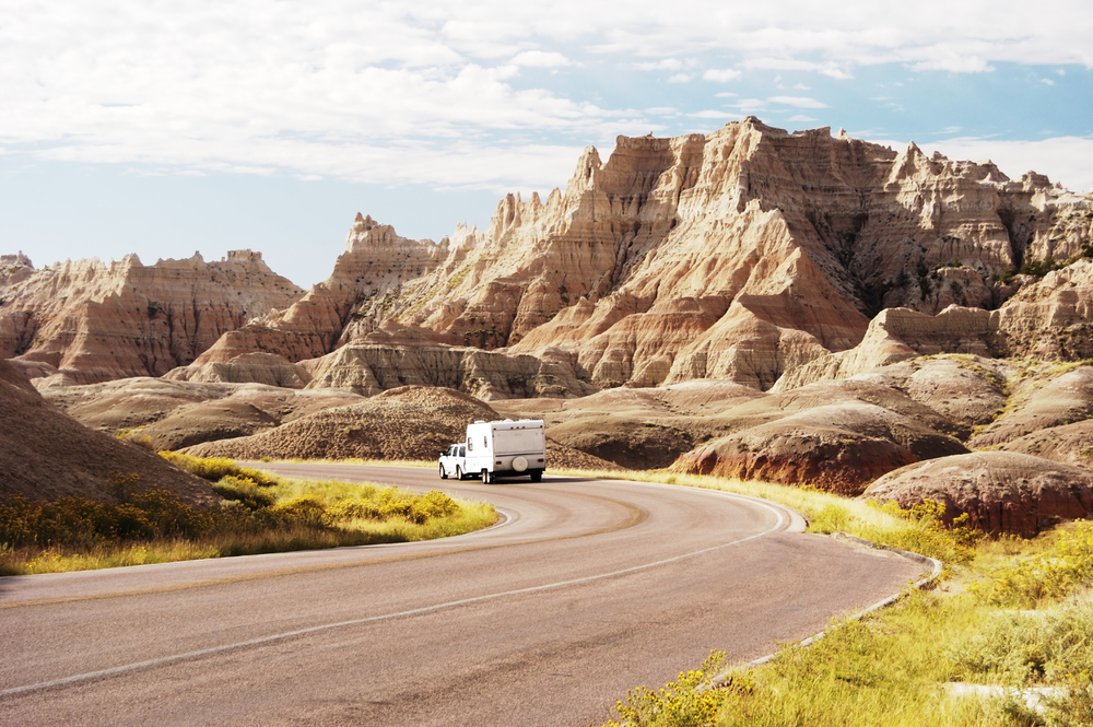 traveling in a recreational vehicle in the Badlands National Park