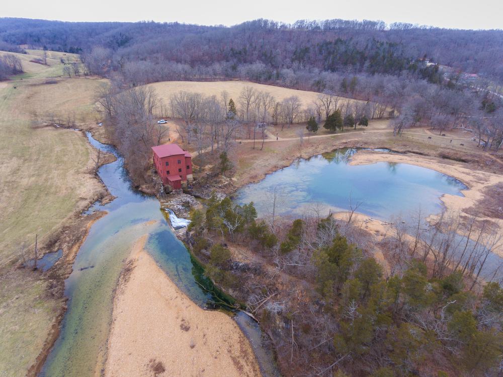 Aerial photo of old mill in Missouri on Huzzah Creek