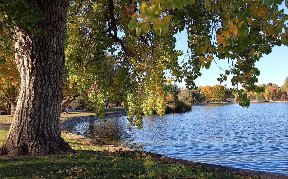 Fall foliage colors at Washington Park by the lake in Denver, Colorado, in Autumn Season