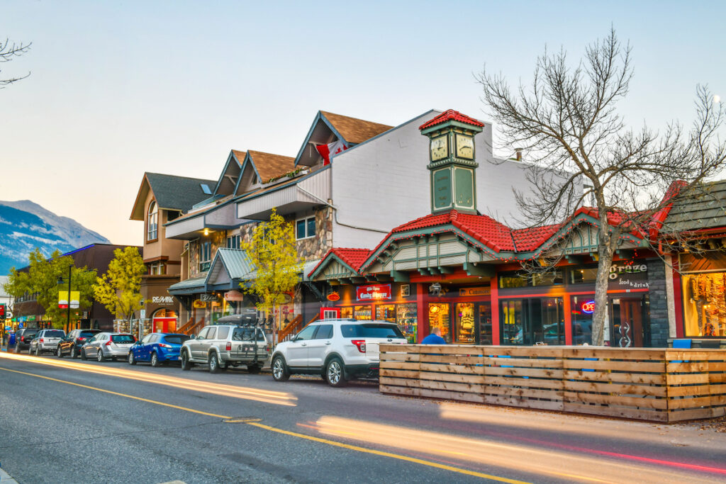 The streets of Canmore in Canadian Rocky Mountains.