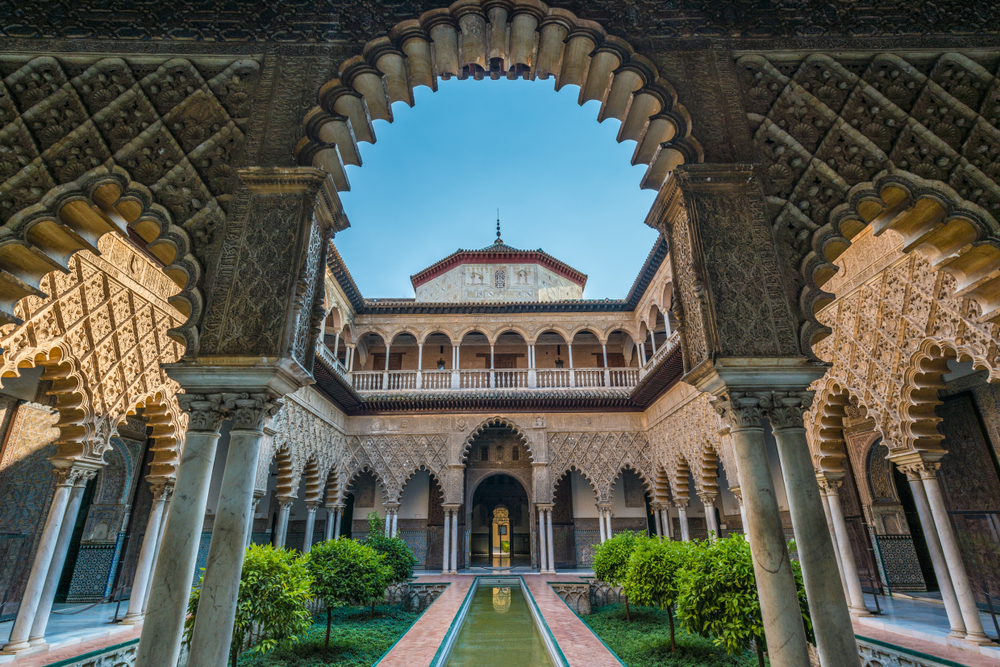 Real Alcazar de Sevilla, fortified palace composed of zones constructed in different historical stages.