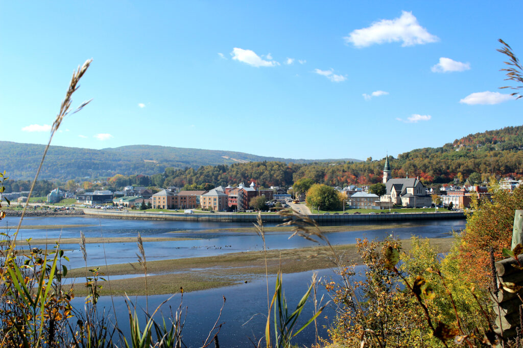 Shoreline view of the Canadian town La Malbaie, Quebec.