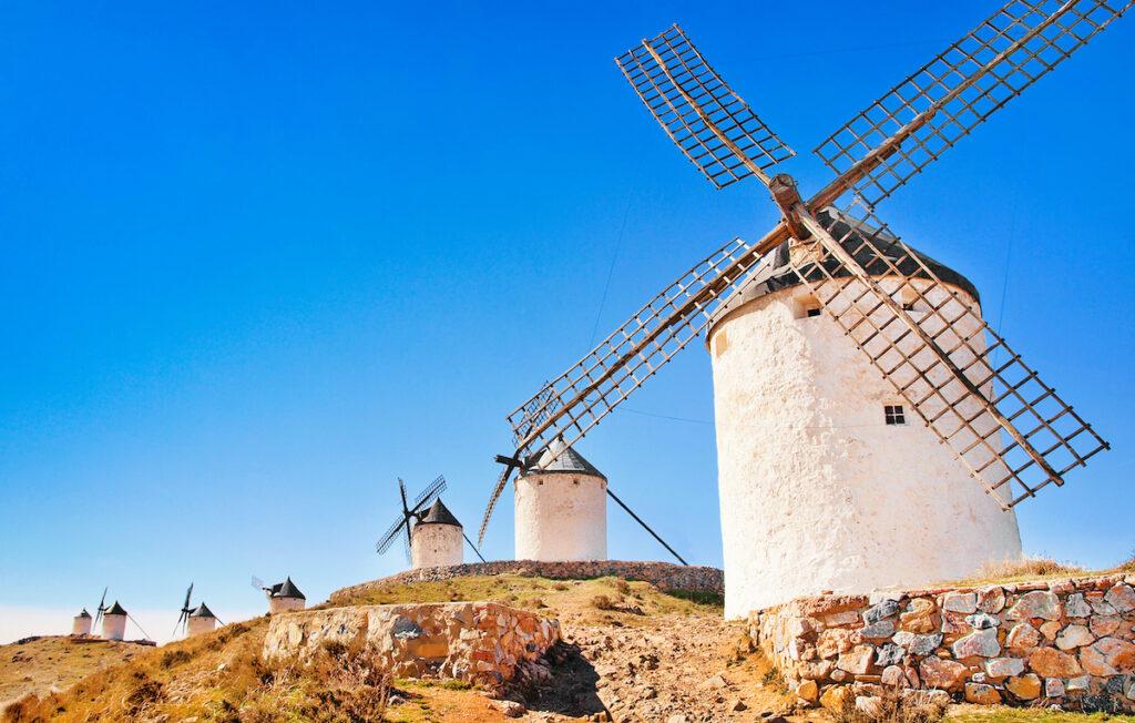 Famous windmills in Consuegra at sunset, province of Toledo, Castile-La Mancha, Spain.