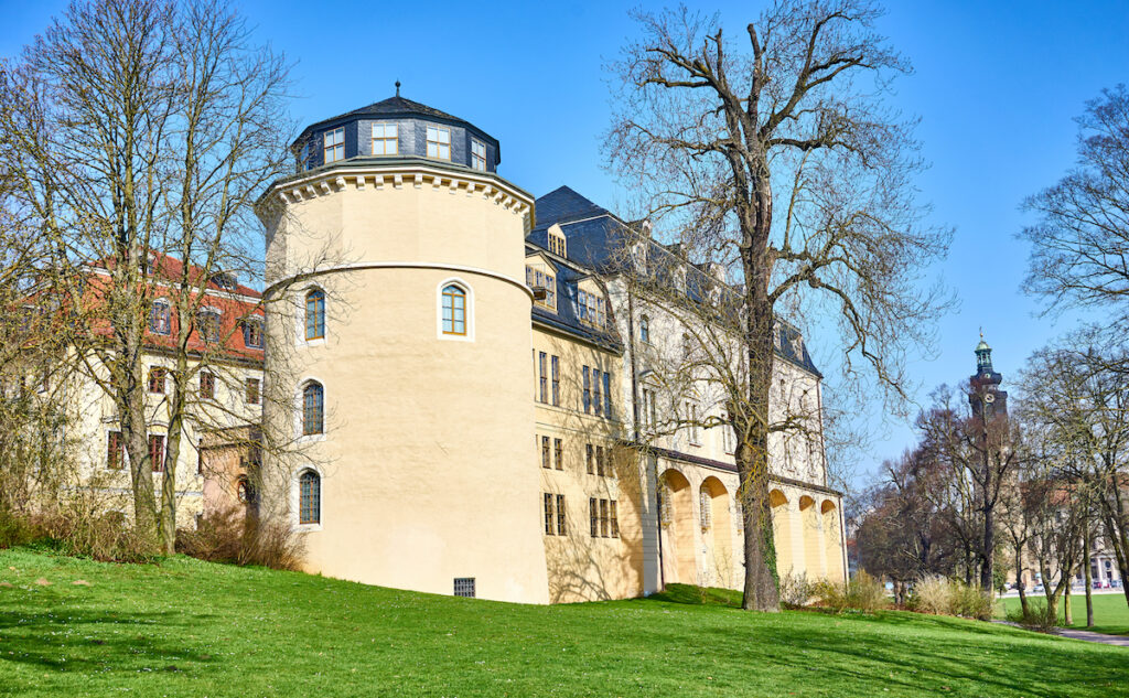 Library of Duchess Anna Amalia from outside / City of Weimar in East Germany.