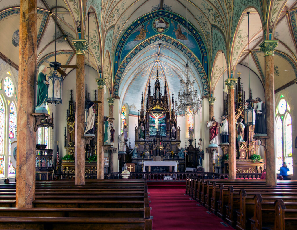 St. Mary Catholic Church interior. One of the painted churches of Schulenburg, Texas.
