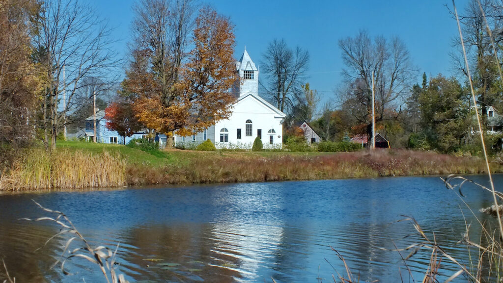 Old White Church at Burritts Rapids on the Rideau River.