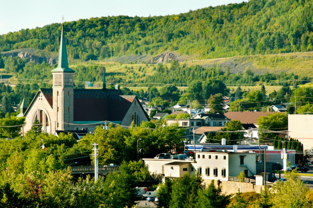 Aerial view of Edmundston City in New Brunswick, Canada