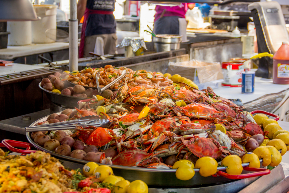 Steamed blue crabs at outdoor festival