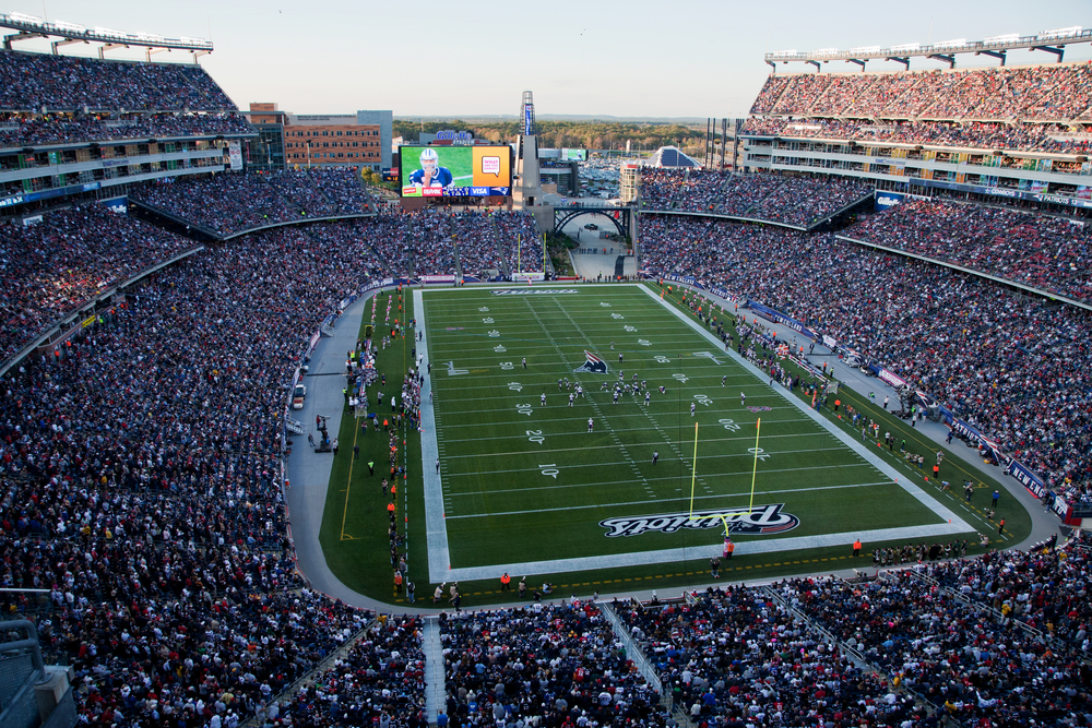 overhead view of Gillette Stadium, home of the New England Patriots