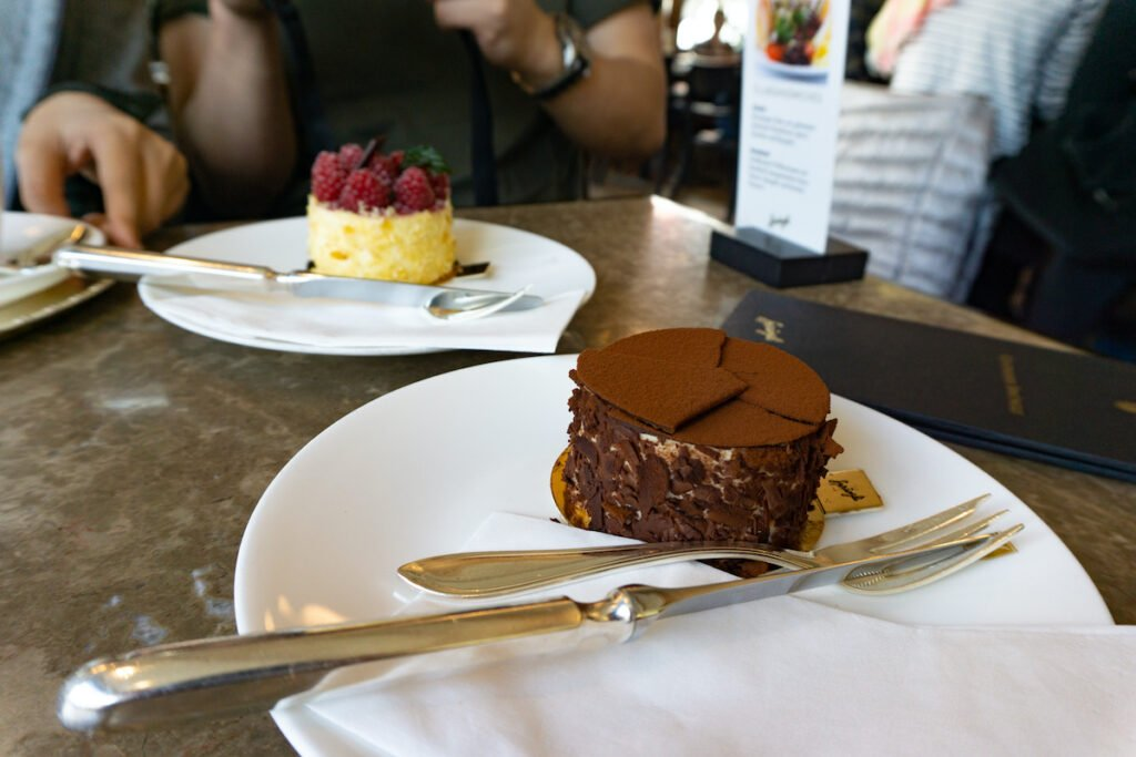 Cream-Soufflée-Pâtisserie and Raspberry Cream Pâtisserie served at the Spruengli Dessert Cafe.