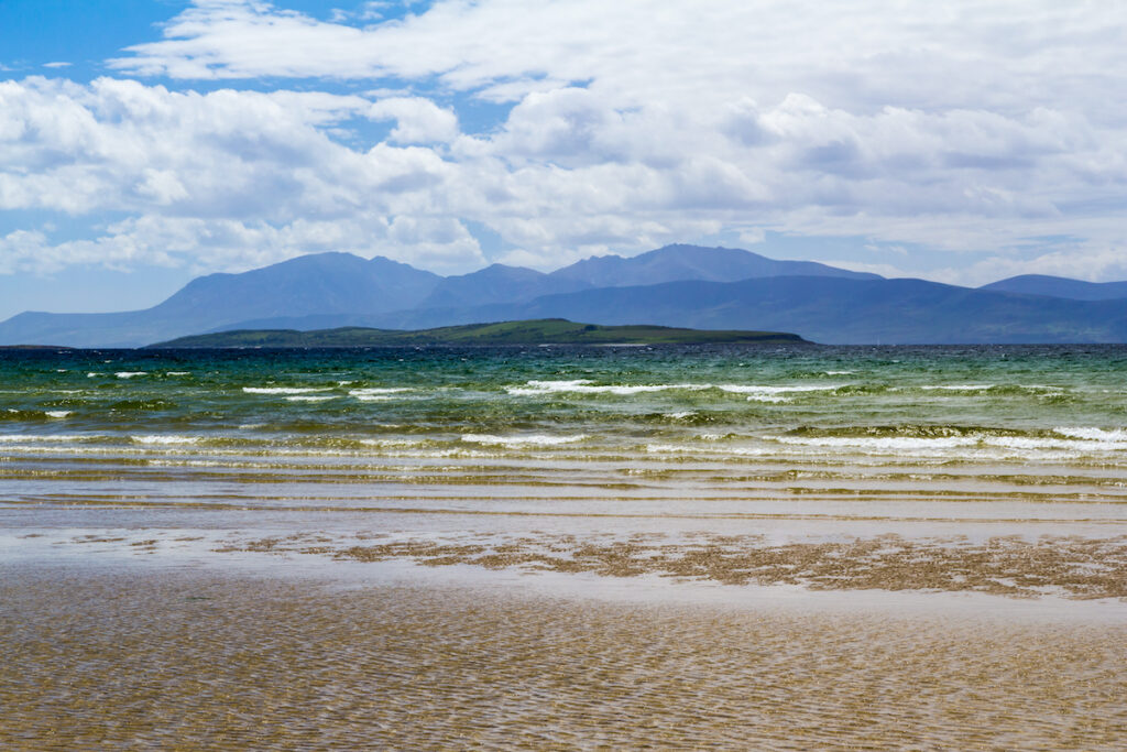 Arran from Ettrick Bay, Argyll and Bute, Scotland UK.