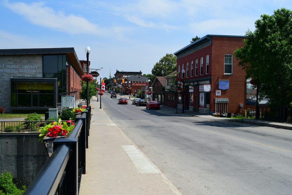Kemptville old downtown during  a summer day.