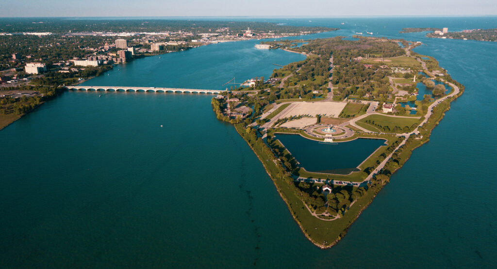 Aerial view of Belle Isle Park in Detroit, Michigan.