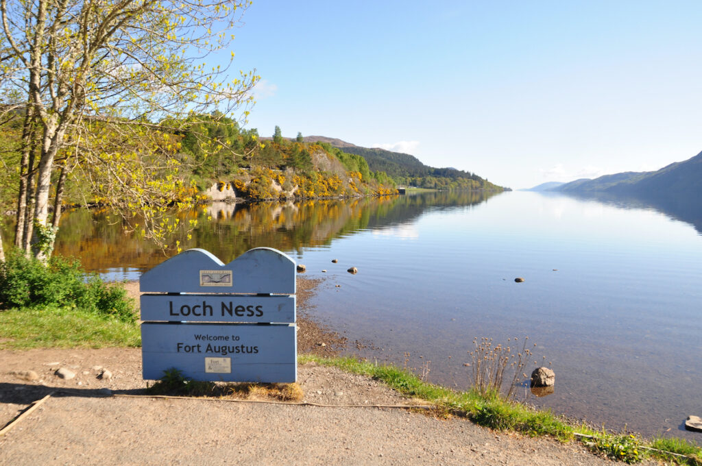 View of Loch Ness from the bank of Fort Augustus, Scotland.