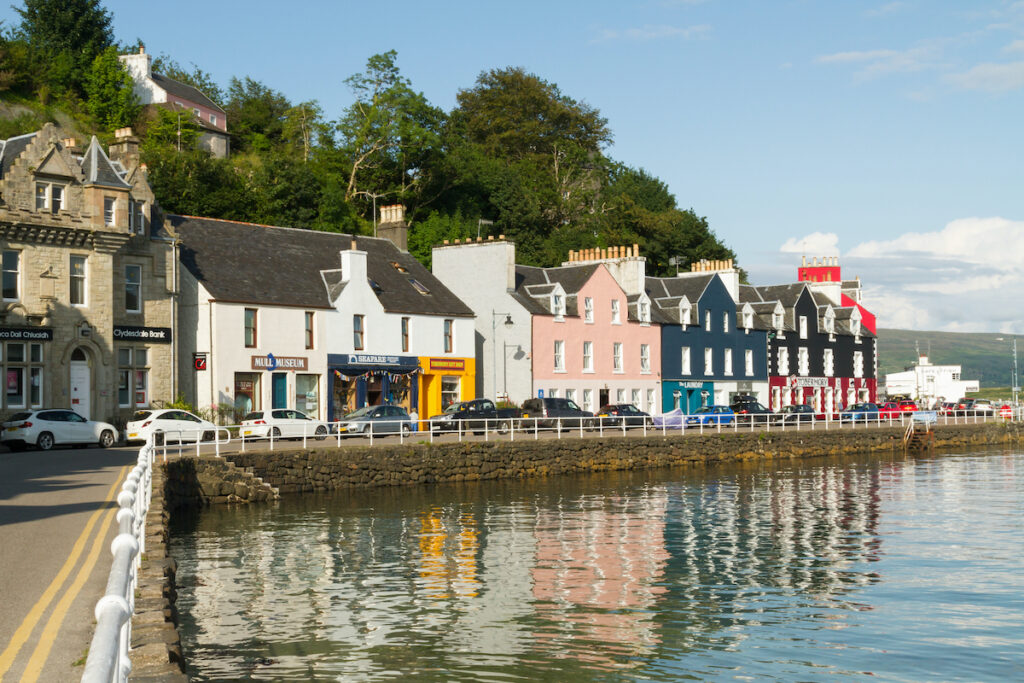 Colourful houses on the harbour at Tobermory on the Isle of Mull.