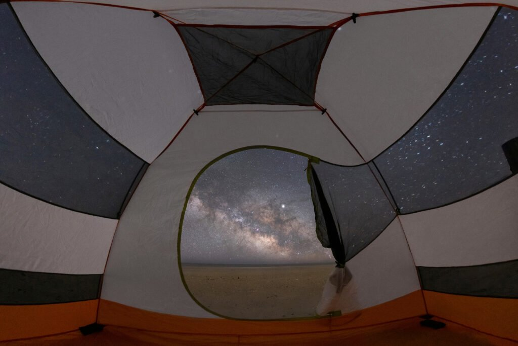 Sleeping under the Milky Way and stars inside a tent on the beach at Assateague Island in Maryland