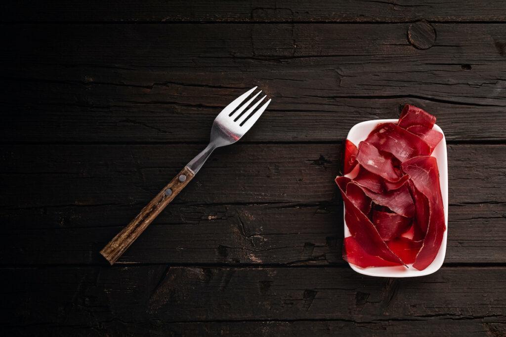 Bündnerfleisch, an air-dried meat that is produced in the canton of Graubünden, Switzerland.